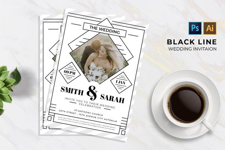 Black Line 2 Wedding | Invitation