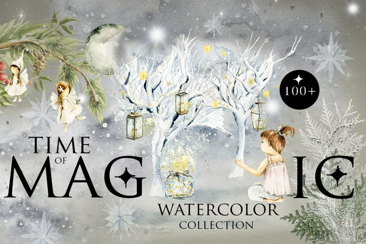 Time of magic. Watercolor collection