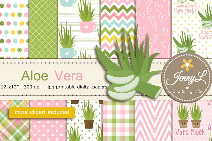Aloe Vera Digital Papers and Clipart