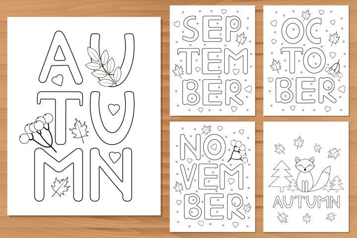 5 autumn coloring pages. Digital coloring prints.