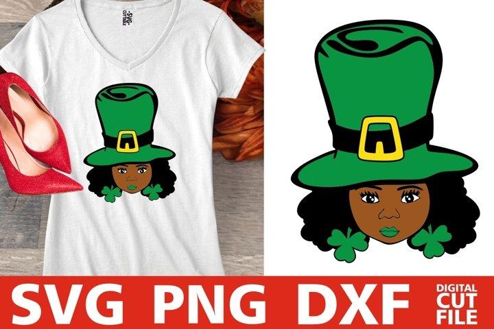 St Patricks Day svg, African American, Black Girl svg, Afro