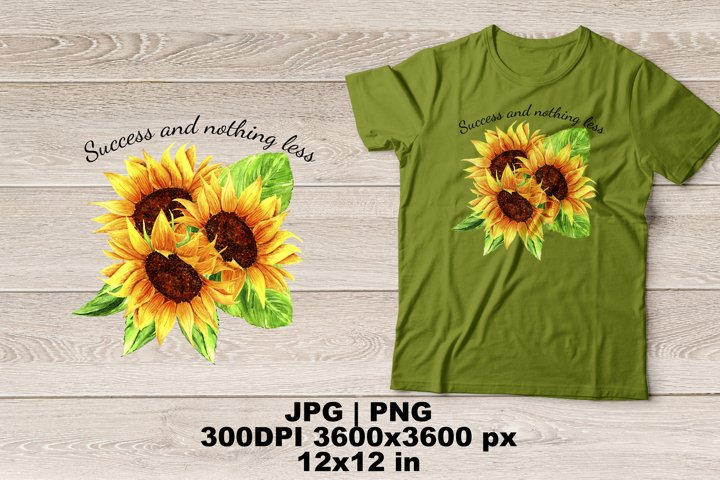 Watercolor Sunflowers Sublimation Design