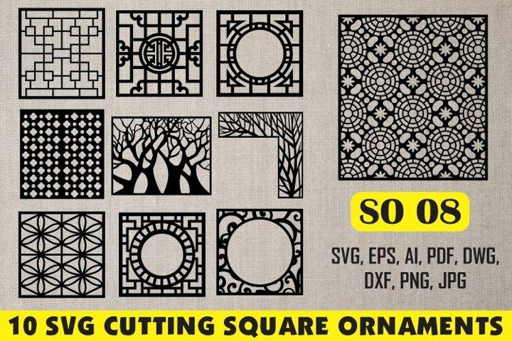SO 08, 10 SVG CUTTING SQUARE ORNAMENTS