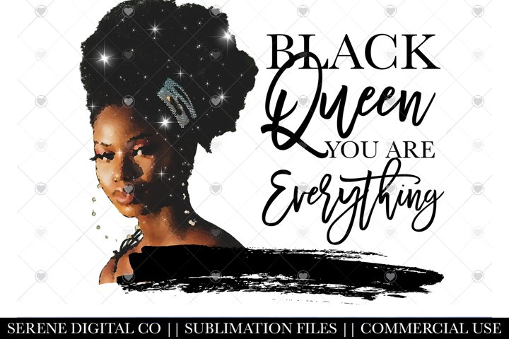 Black Queen PNG File - Afro Sublimation File for Mugs