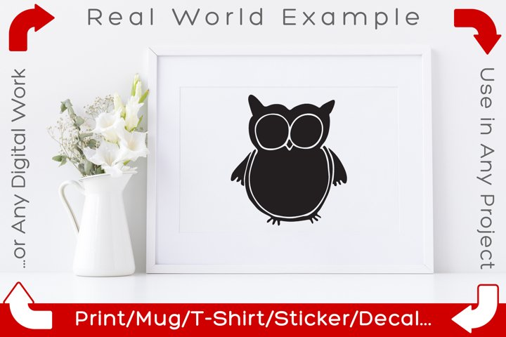 Owl SVG Doodle Clipart Vector Cut Files example 1