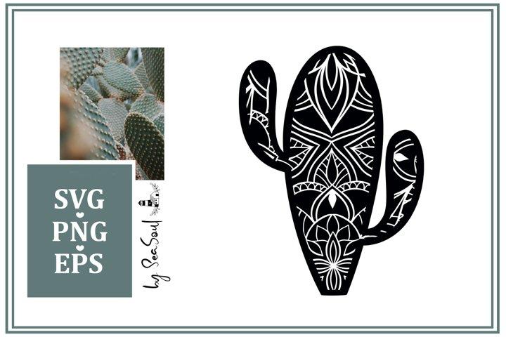 Cactus Mandala Design SVG, PNG, EPS