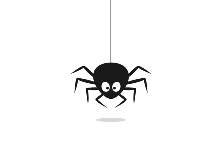 Cute black spider hangs on a spider web isolated