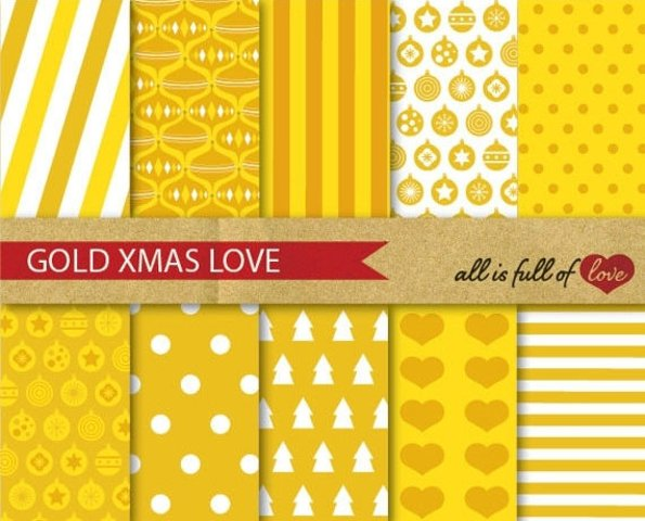 Golden Xmas Digital Paper Pack Christmas Background Patterns Grey wrapping paper and party decor