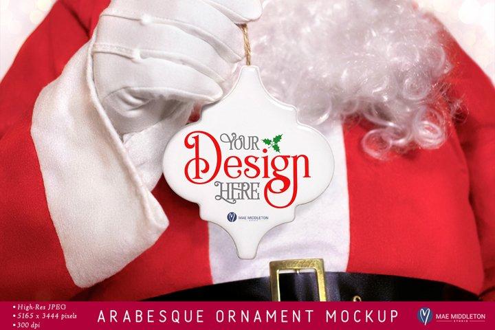 Arabesque Christmas Ornament Mockup | Santa styled photo
