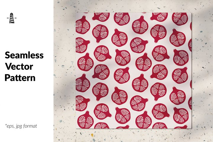 Trendy pomegranate seamless pattern