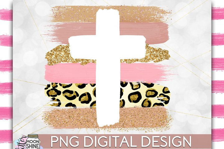 Cross Leopard Brush Strokes PNG Sublimation Design example