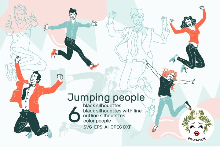 Set of jumping people. Color, silhouette,outline