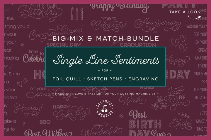 Foil Quill Mix & Match Sentiments Bundle | Single Line SVG