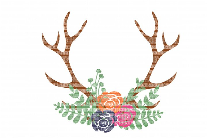 Antler Floral Swag SVG Files for Silhouette and Cricut Design Space Christmas Cut File Printable Transfer Decal DXF Commercial Use