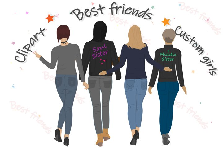 Best friends clipart Girls back view Custom girls. Vector