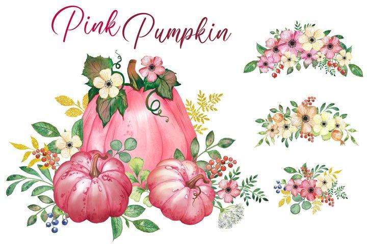 Pink pumpkin clipart. Watercolor pumpkins, flowers and green