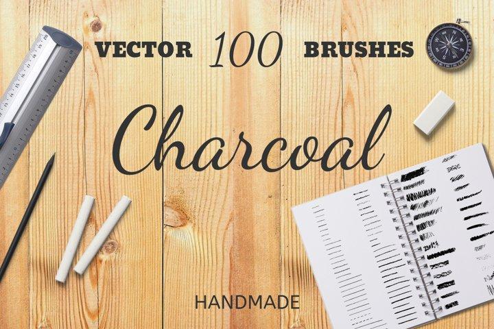 100 Charcoal Handmade Vector Brushes
