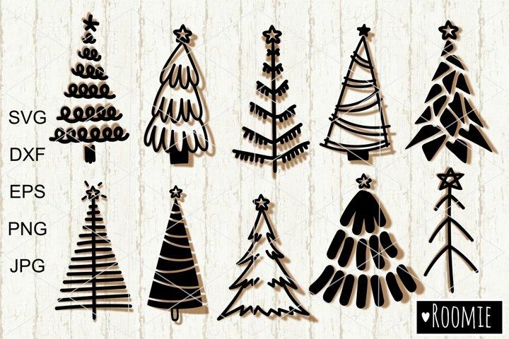 Hand drawn Christmas Tree SVG, Merry Christmas Rustic Trees