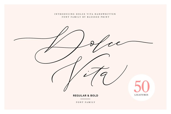 DolceVita - luxury font family with 50 ligatures