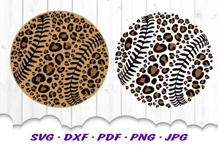 Leopard Print Baseball SVG DXF Cut Files