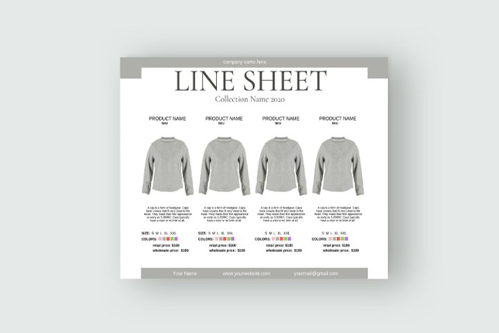 Line Sheet for Wholesale