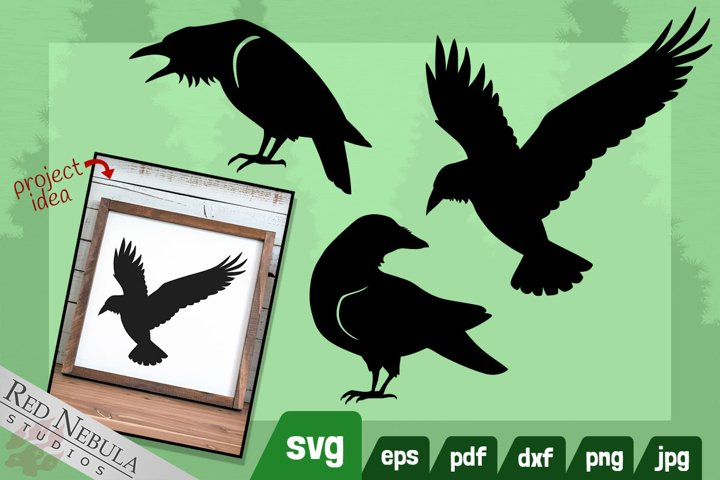 Raven SVG Clipart Set - Woodland Animals Series