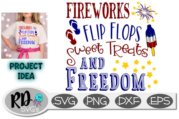 Fireworks Flip Flops Sweet Treats and Freedom Cut File