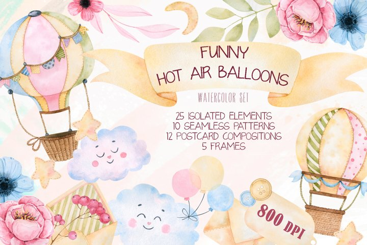Funny hot air balloons watercolor set
