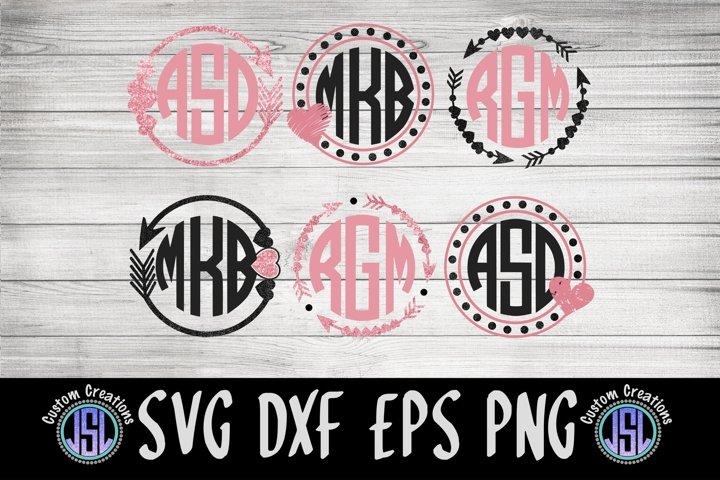 Heart & Arrows Monogram Frames | Set of 6 | SVG DXF EPS PNG