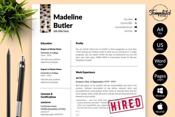 Animal Care Resume Template for Word & Pages Madeline Butler