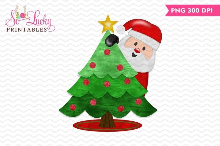 Santa peeker Christmas tree printable sublimation design