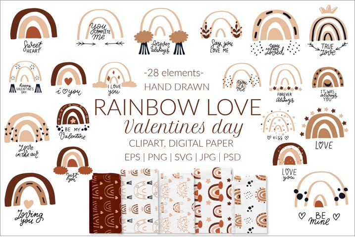 Boho rainbow svg bundle. Valentines day svg, love clipart