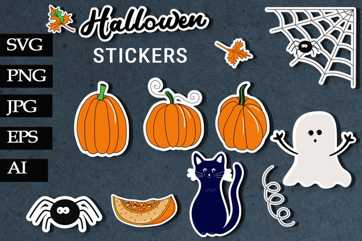 Halloween stickers. Pumpkin. Print and cut SVG and PNG.