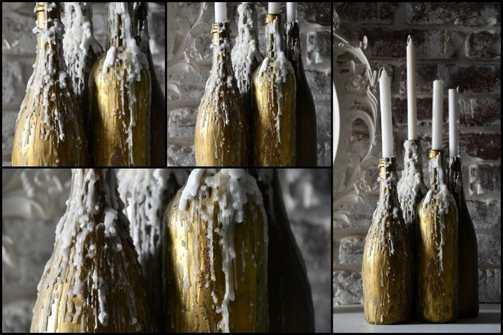 4 Photos of Candle still life decorations in golden bottles