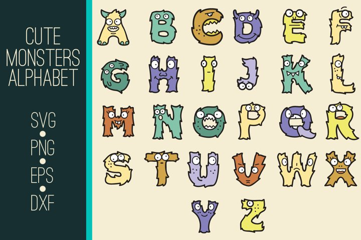 Cute Monsters SVG Alphabet | Cute Monsters SVG Monogram