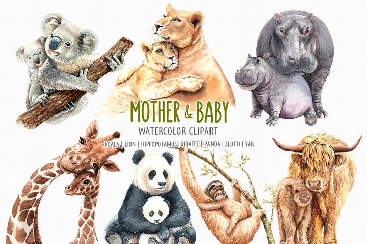 Watercolor Mom and Baby Animals