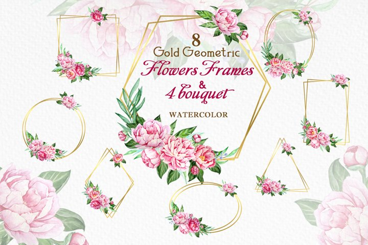 Gold Geometric Frames Watercolor Peony Flowers Clipart