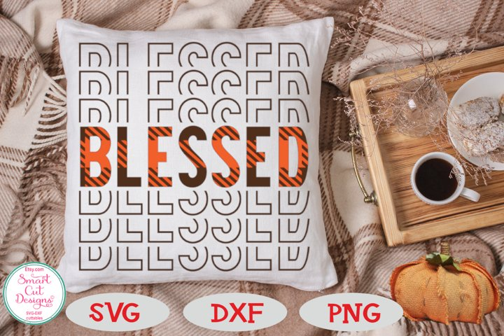 Blessed SVG, Mirrored, Buffalo Plaid SVG, Thanksgiving SVG