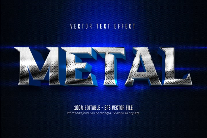 Metal text, metallic silver style editable text effect