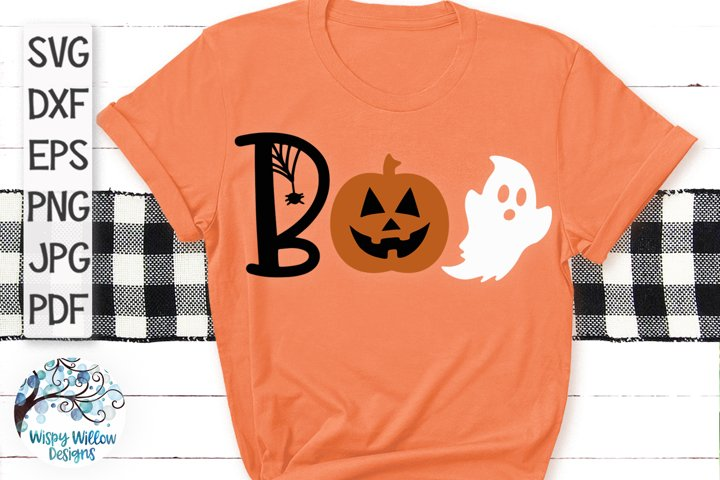 Boo SVG | Boo with Pumpkin and Ghost Halloween SVG Cut File