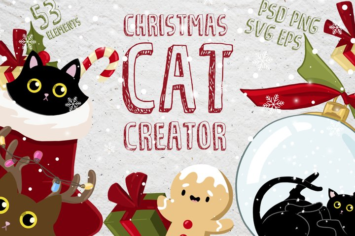 Christmas cat creator - collection vector