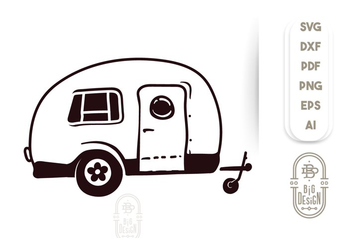 Camping SVG File - Camper Van Illustration - Trailer SVG