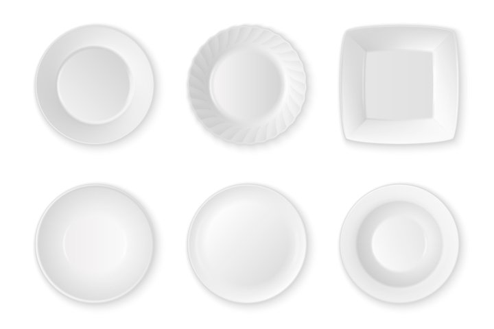 Food plates, dishes and bowls.