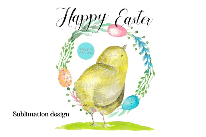 Easter wreath baby chick sublimation graphics PNG