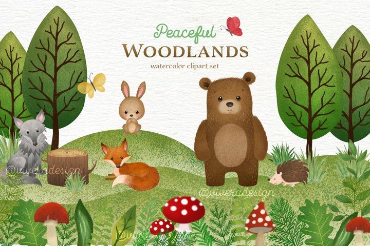 Peaceful Woodlands - Watercolor Animal Clip Arts