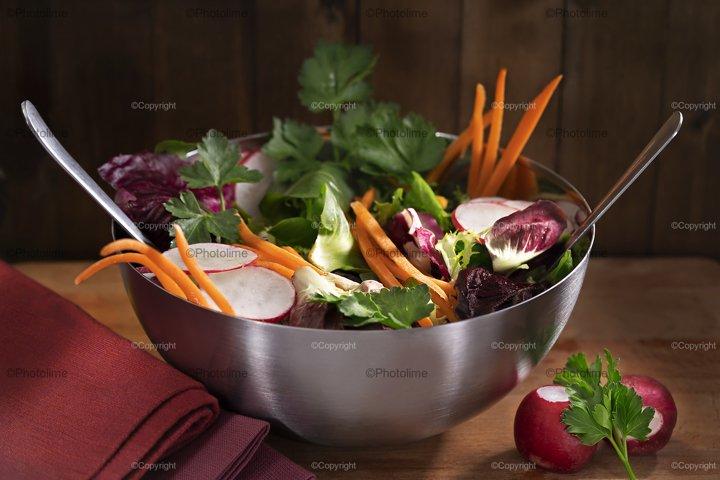 Fresh mix vegetable salad in metal plate
