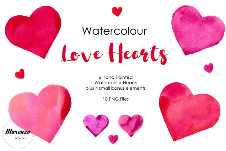 Watercolour Love Hearts Clipart. Ideal for sublimation.