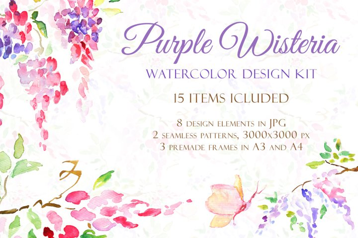 Watercolor Purple Wisteria - Handmade clipart and design kit