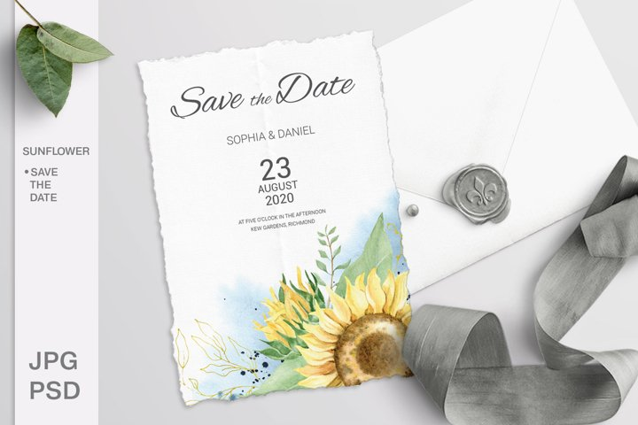 Sunflower Wedding Save the date card. Editable template