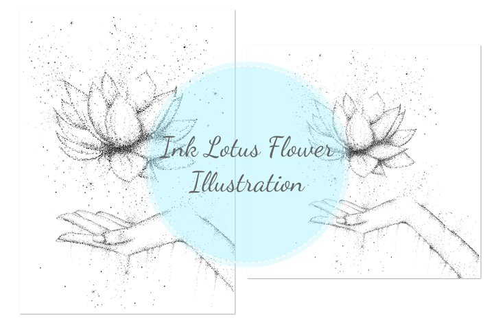 Lotus Flower Illustration, A1, SVG